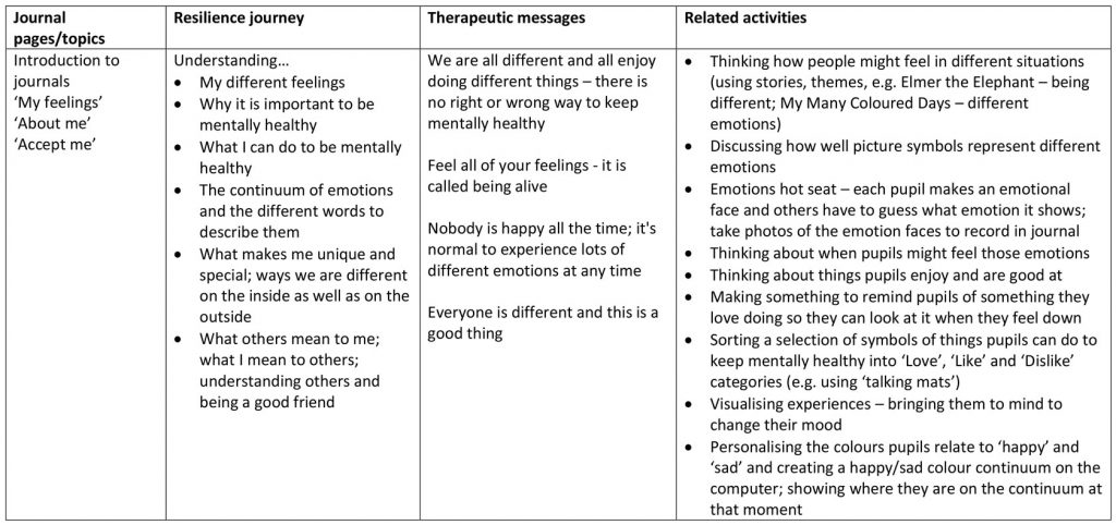 Table 1. KS2 'Understanding Me' Journal adaptations (8 sessions)