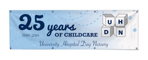 25 years of childcare eyeletted banner