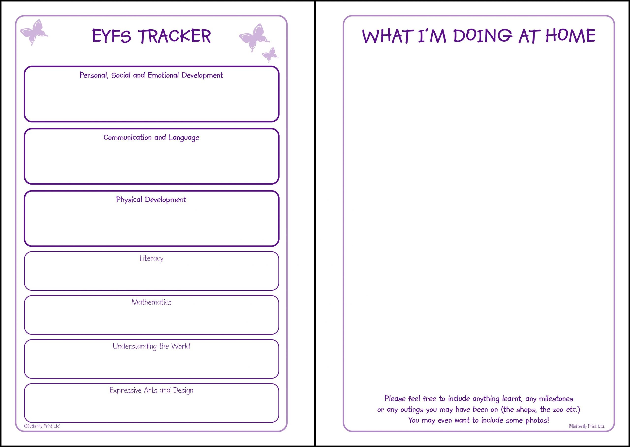 Preview of Butterfly Print Early Years Diary Tracker pages