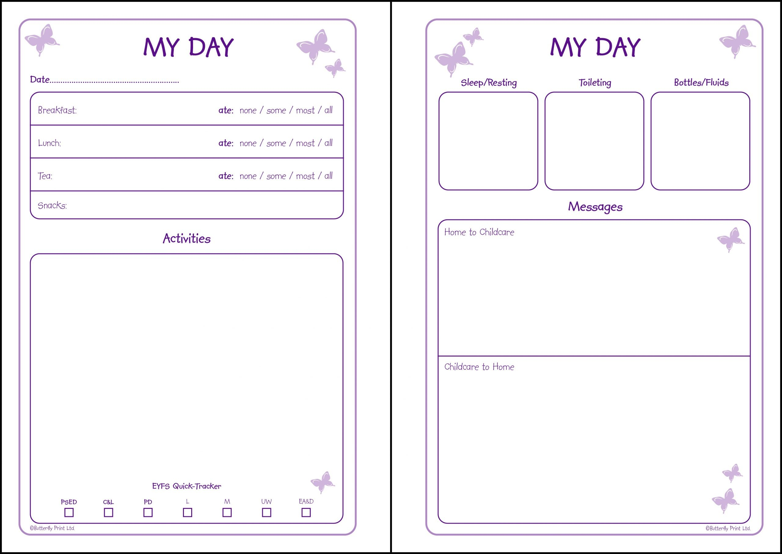 """Preview of Bitterfly Print Early Years Diary """"My Day"""" pages"""