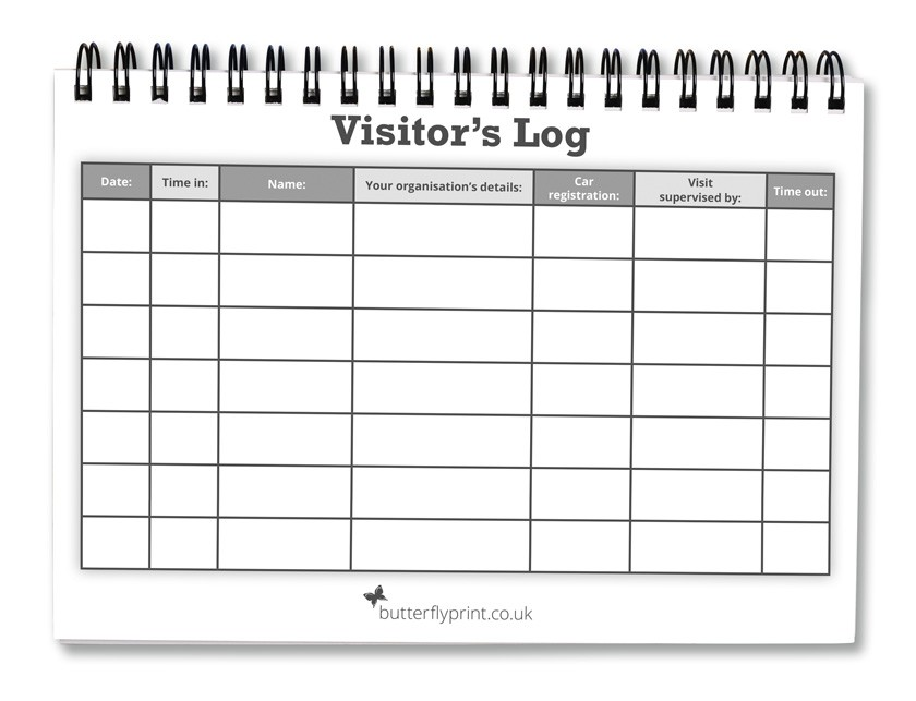visitors log book template - visitor log books butterfly print ltd