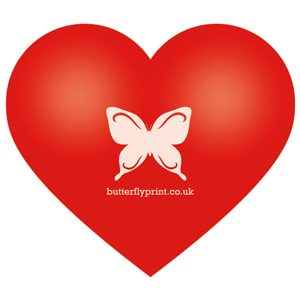 Butterfly Print Red Stress heart
