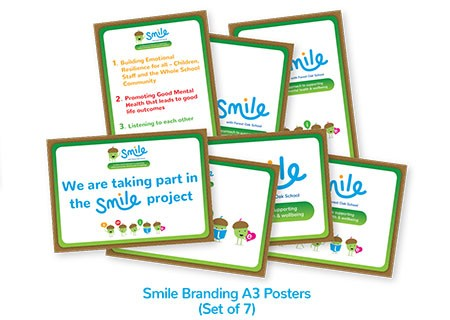 Smile Emotional Wellbeing Resource Kit: Set of 7 Smile Branding A3 Posters for display in school