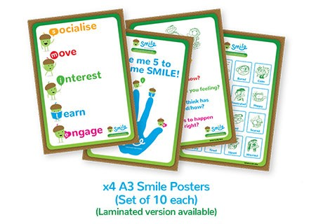 Smile Emotional Wellbeing Resource Kit: Set of 10 A3 Smile posters (four different kinds)