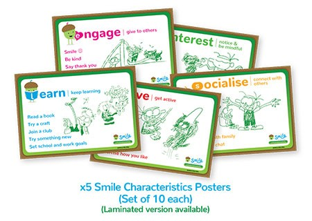 Smile Emotional Wellbeing Resource Kit: Set of 10 Smile Characteristics Posters (five different kinds)