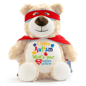 Butterfly Print red cuddle Bear with the message I have autism, what's your super power?
