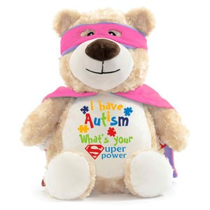 Butterfly Print cuddle Bear with the message I have autism, what's your super power?